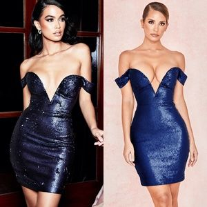 HOUSE OF CB Dante Blue Sequin Bodycon Bardot Dress